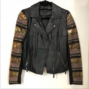 XOXO faux leather jacket with sequin